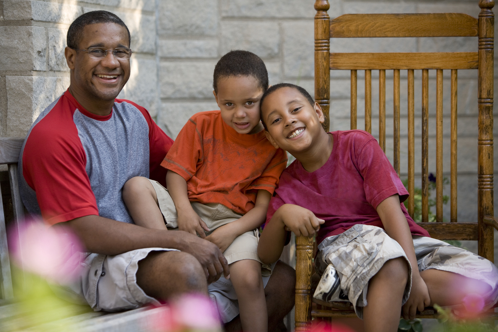 Dad with two boys at Ronald McDonald House